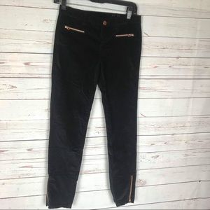 Baker by Ted Baker Black Velvet Zipper Pants Sz 12